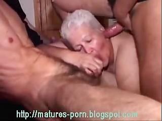Old BBW grandma gangbang