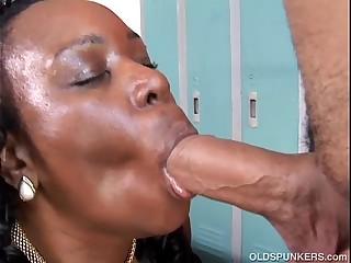 Busty black mature BBW gives..