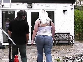 Blonde bbw rides stranger cock