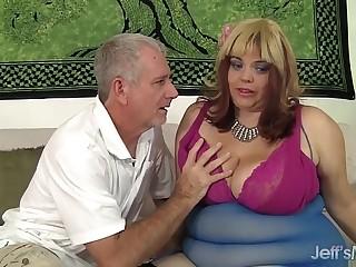 BBW Buxom Bella rides a fat..