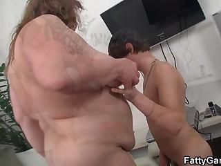Big belly bbw sucks and..