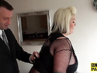 Fat brit subs in fishnets..