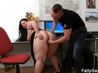 Fat office lady seduces hot..