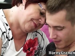 Fat grandma rides cock