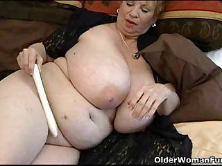 Fat granny Dagny with her..