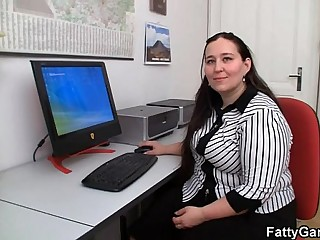 Chubby office girl gets..