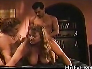 Two Big Women In A Threesome..