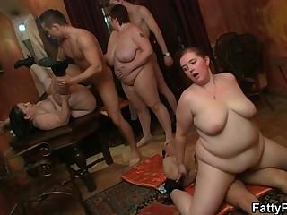 Fat girl enjoys two cock..