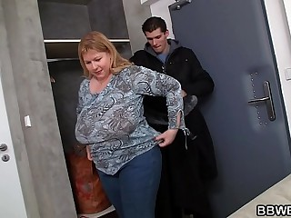 He doggy-fucks huge boobs..